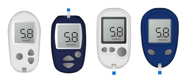 Glukose-meter-icon-set. realistischer satz glukosemeter-vektorikonen für das webdesign lokalisiert auf weißem hintergrund