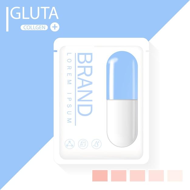 Glutathion-packung mit kapsel und der dritten zutat
