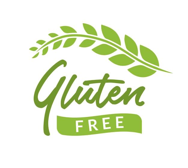 Glutenfrei isolierte zeichensymbol gezeichnet. gesundes schriftsymbol der glutenfreien phrase.