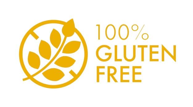 Glutenfreies vektor-label isoliert auf hintergrund für café-menü-restaurant-t-shirt-symbol für gesunde ernährung