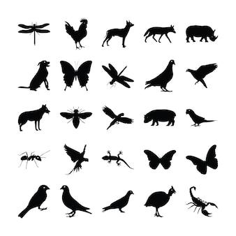 Glyphenpiktogramme von tieren