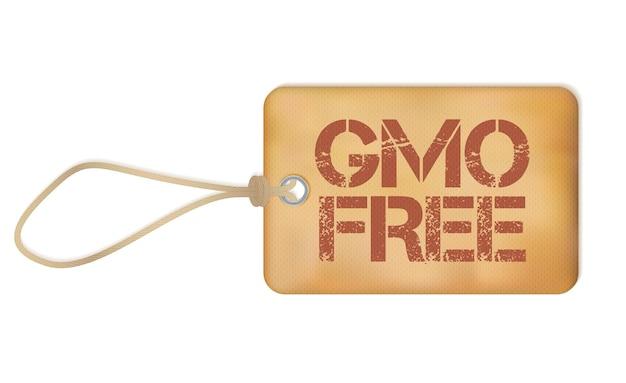 Gmo-freie alte papier-grunge-etikett-vektor-illustration