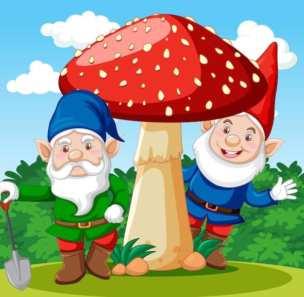 Gnome, die mit pilzkarikaturfigur auf gartenhintergrund stehen