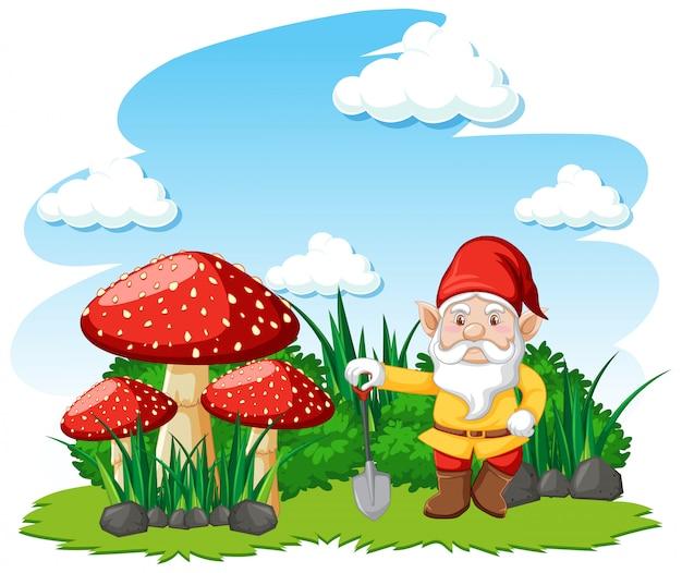 Gnome, die mit pilzkarikaturfigur auf weißem hintergrund stehen