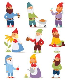 Gnome garten stellte lustige kleine charakter niedlichen märchen zwerg mann in kappe und cartoon urlaub alten kobold garten männlich