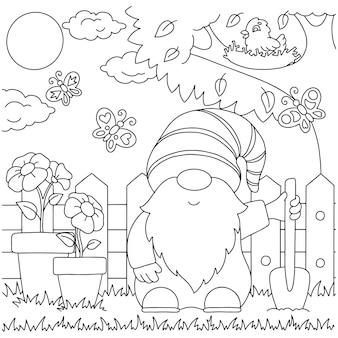 Gnome im garten malbuchseite für kinder