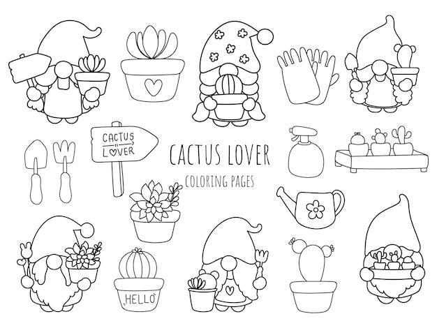 Gnome-kaktus-liebhaber-doodle, malvorlagen.