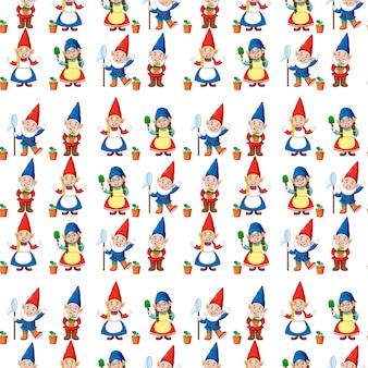 Gnome oder zwerg nahtloses muster mit gartenelementen