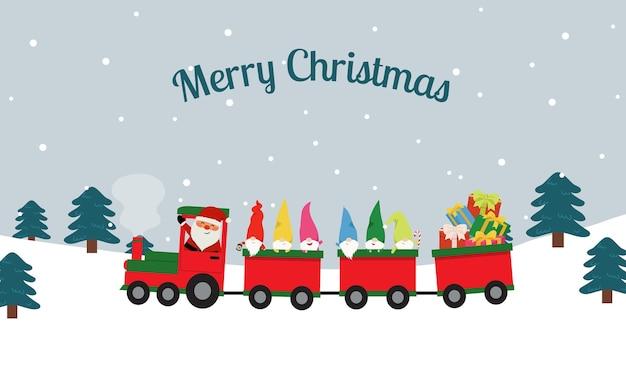 Gnome reiten weihnachtsmann zug tragen geschenk. winterreisen.