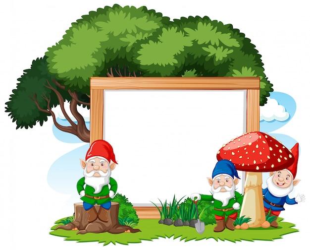 Gnome und baum mit leerem fahnenkarikaturstil auf weißem hintergrund