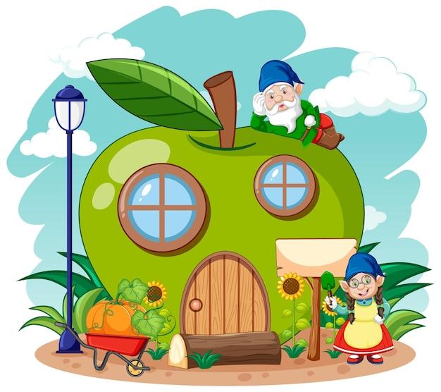 Gnome und grünes apfelhaus im gartenkarikaturstil am himmel