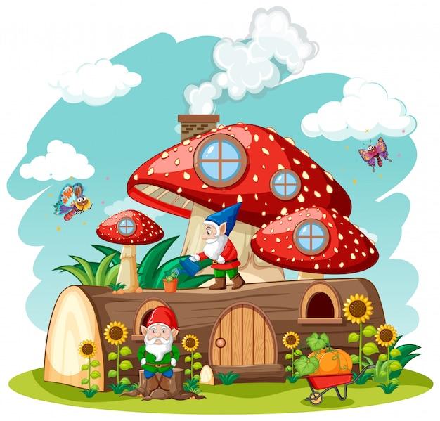 Gnome und holzpilzhaus und im gartenkarikaturstil auf gartenhintergrund