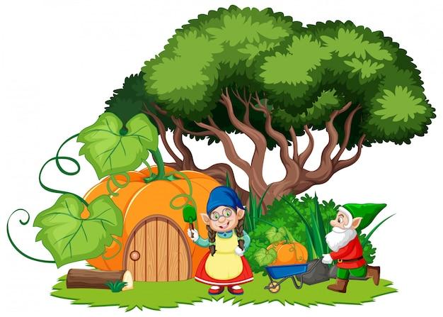 Gnome und kürbishauskarikaturstil auf weißem hintergrund