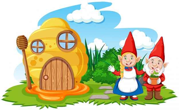 Gnome und wabenhaus im gartenkarikaturstil auf himmelhintergrund