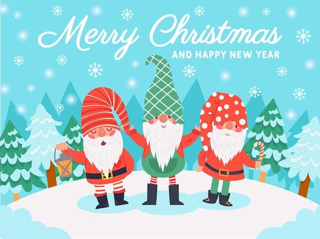 Gnome-weihnachtsfiguren. weihnachtsgrußkarte mit süßen zwergen, winterelementen und schriftzug, dezemberferienvektorhintergrund. frohes neues jahr. verschneiter rasen mit tannen und schneeflocken