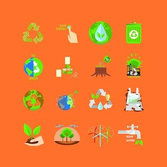 Go green icon sammlung