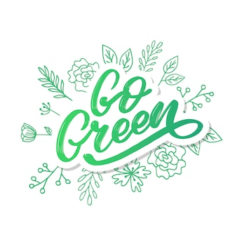 Go green label, trendige pinselschrift, inspirierende phrase. vegetarisches konzept. vektorkalligraphie für veganes geschäft, café, restaurantmenü, abzeichen, aufkleber, banner, logos. moderne typografie