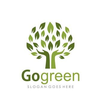 Go green logo entwurfsvorlage