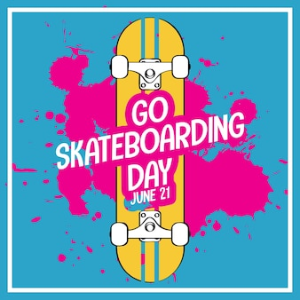 Go skateboarding day schriftart auf skateboard banner isoliert