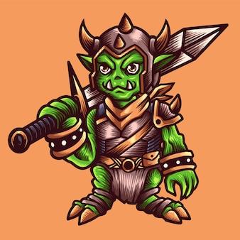 Goblin knight mit schwert und rüstung. handgezeichnete illustration.