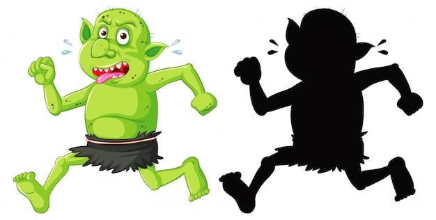 Goblin oder troll in farbe und silhouette in der zeichentrickfigur auf weißem hintergrund