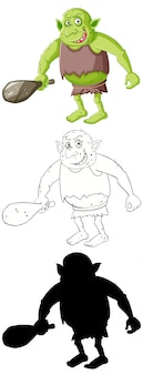 Goblin oder troll in farbe und umriss und silhouette in zeichentrickfigur