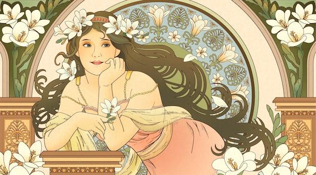 Göttin im mucha-stil, die freesie hält und sich auf wunderschönes coloum stützt