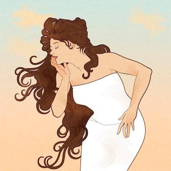 Göttin mit langen braunen haaren im weißen kleid