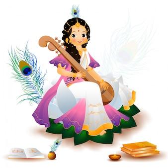 Göttin saraswati charakter in sitzender haltung