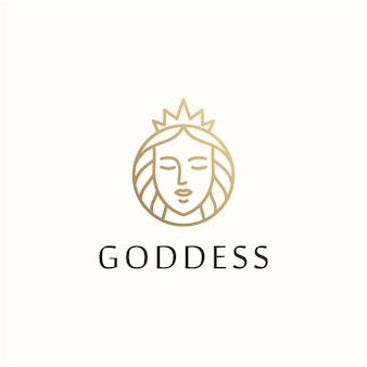 Göttin schönheit frau vektor logo entwurfsvorlage