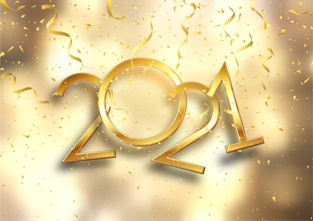 Gold 2021 konfetti und luftschlangen