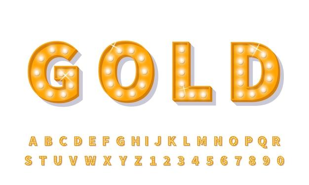 Gold 3d glühbirne schriftart. retro-stil alphabet lichtschrift.