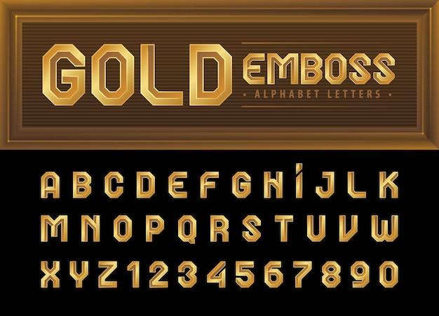 Gold alphabet buchstaben und zahlen