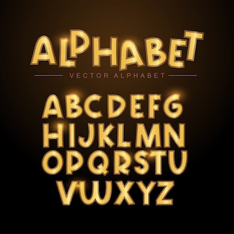 Gold alphabet gesetzt