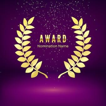 Gold award emblem mit fallenden konfetti