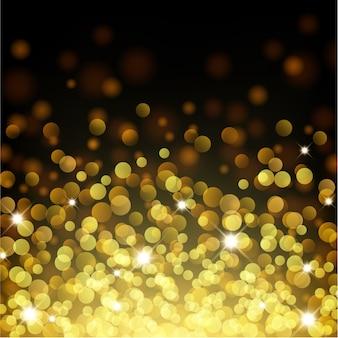 Gold bokeh, das oben schwimmt