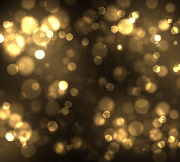 Gold bokeh unscharfes licht auf schwarzem hintergrund. vorlage für goldene lichter und neujahrsfeiertage. abstraktes glitzern defokussierte blinkende sterne und funken.