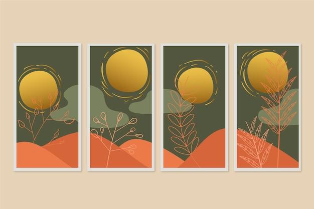 Gold botanische abdeckung sammlung vorlage