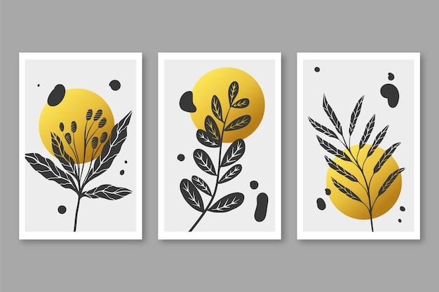 Gold botanisches abdeckungsset