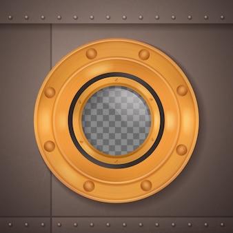 Gold bullauge 3d realistische zusammensetzung bullauge auf einem schiff oder einem u-boot