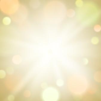 Gold burst light funkeln bokeh unschärfe hintergrund. kreislicht auf beigem hintergrund.