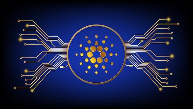 Gold cardano ada kryptowährungssymbol im kreis mit leiterplattenspuren auf dunklem hintergrund. gestaltungselement im techno-stil für website oder banner. vektor-illustration.