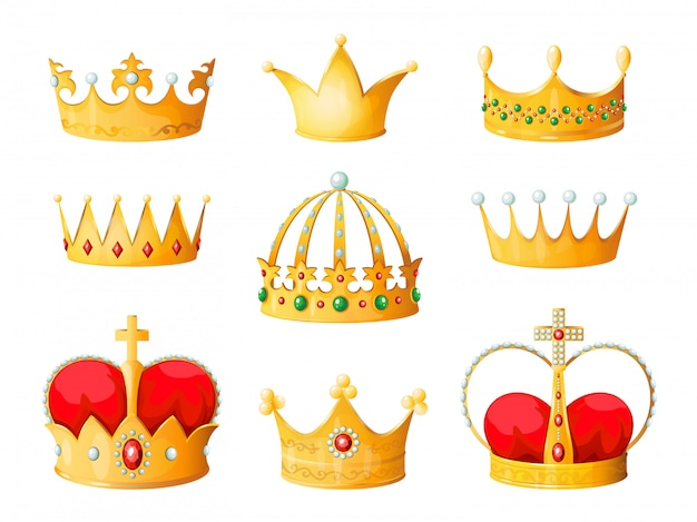 Gold cartoon krone. goldgelbe kaiserprinzkönigin krönt diamantkrönungstiara, die emojis-korona isoliert krönt
