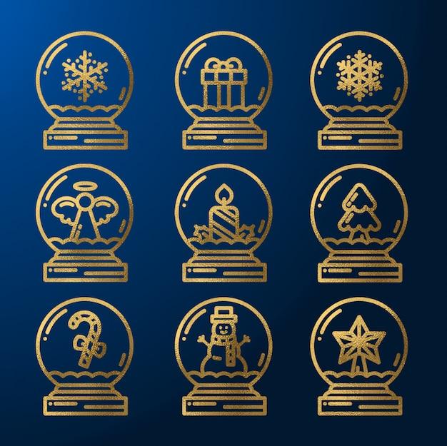 Gold christmas snowglobes set