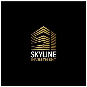 Gold city gebäude mit anfangsbuchstaben si logo design