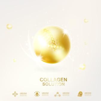 Gold collagen ball hintergrund für hautpflege-kosmetikprodukte.