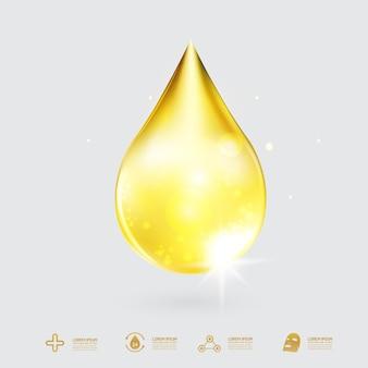 Gold collagen drop hintergrund für hautpflege-kosmetikprodukte.