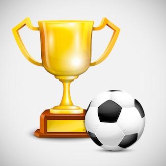 Gold cup mit fußball.
