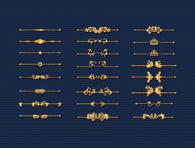 Gold dekorative verzierungen elemente gesetzt