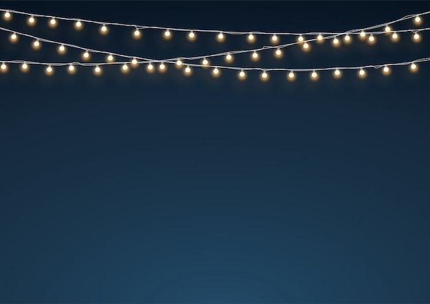 Gold fairy lights hanging string dekoration hintergrund